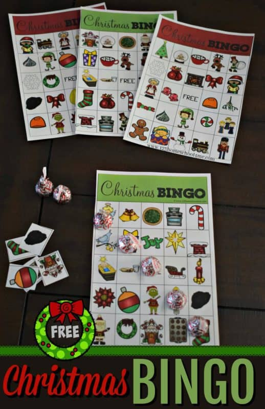 Your kids will love to play this FREE printable Christmas BINGO game with their family and friends! Just download and print! #freehomeschooldeals #fhdhomeschoolers #christmasbingogame #bingofortheholidays #holidaybingo #christmasgames #christmaspartygames