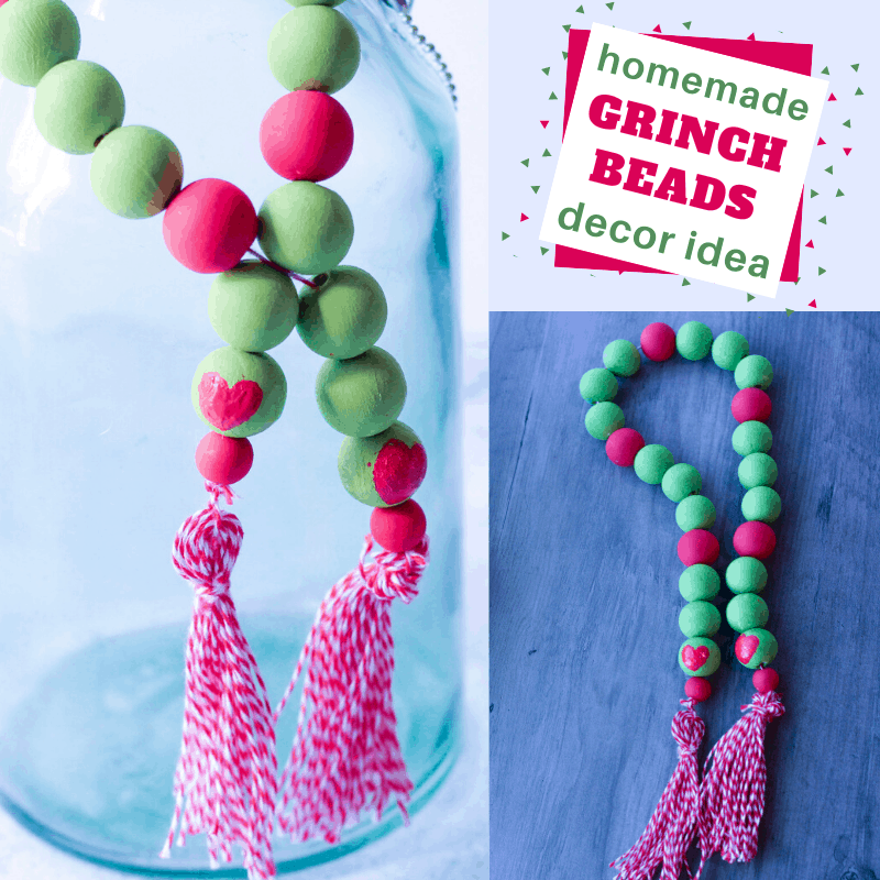These simple DIY Grinch farmhouse beads are perfect for decor or Christmas jewelry. #Grinchfarmhousebeads #DIYgrinchfarmhousebeads