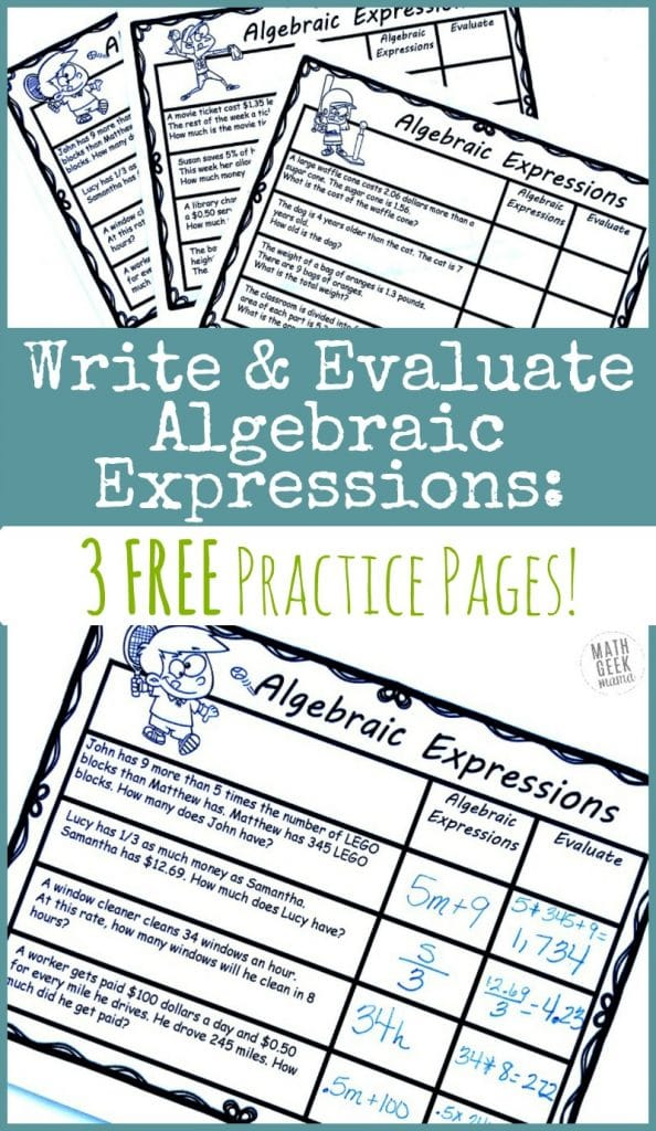 FREE Practice Pages for Writing Algebraic Expressions. #fhdhomeschoolers  #freehomeschooldeals #algebraicexpressions #writingalgebraicexpressions