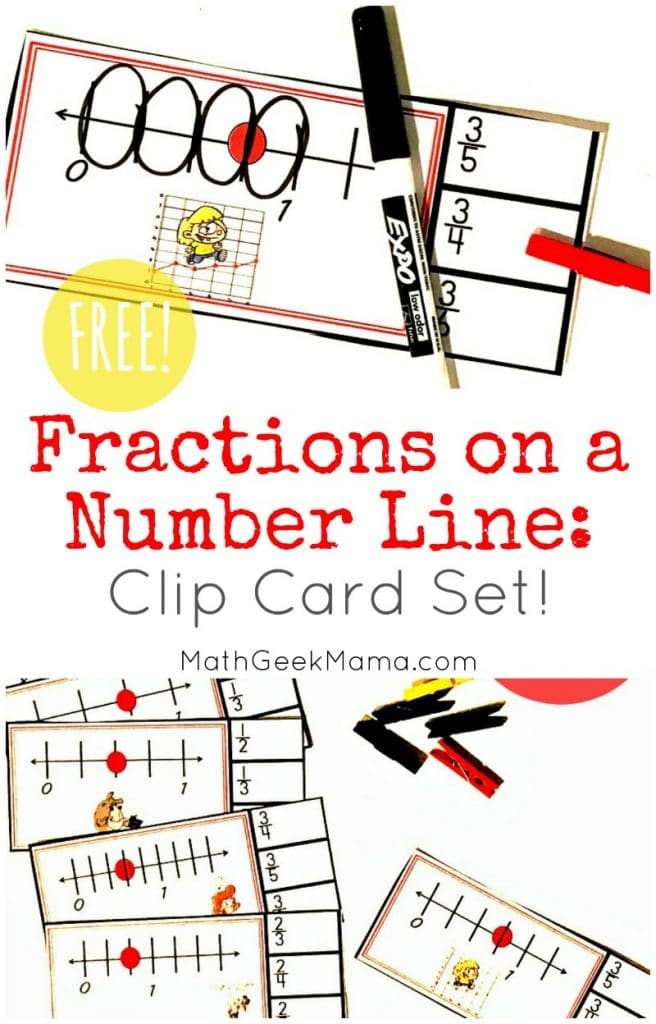 FREE Clip Cards Number Line Fractions. #fhdhomeschoolers #freehomeschooldeals #numberlinefractions