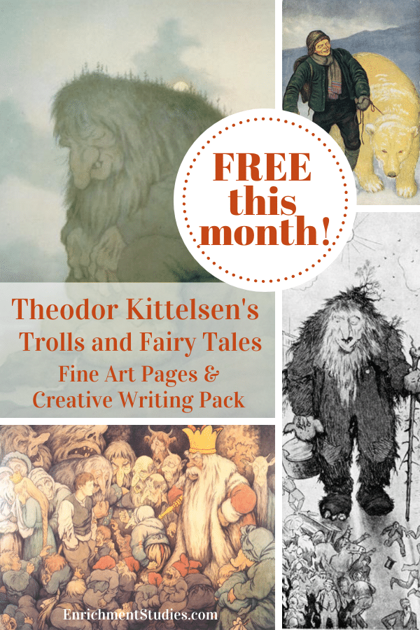 For a great combo of art and writing activities, check out these FREE Theodor Kittelsen Fine Art Pages + Creative Writing Pack (subscriber freebie!) #fhdhomeschoolers #freehomeschooldeals #fineart #hsdays #homeschoolart