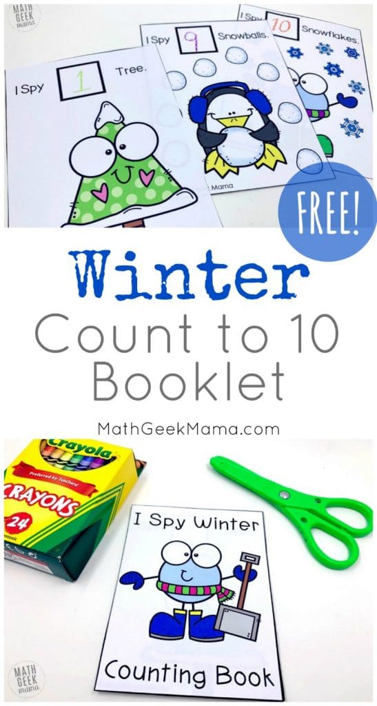 FREE Winter Booklet to Count to Ten. #fhdhomeschoolers #freehomeschooldeals  #countingbooklet
