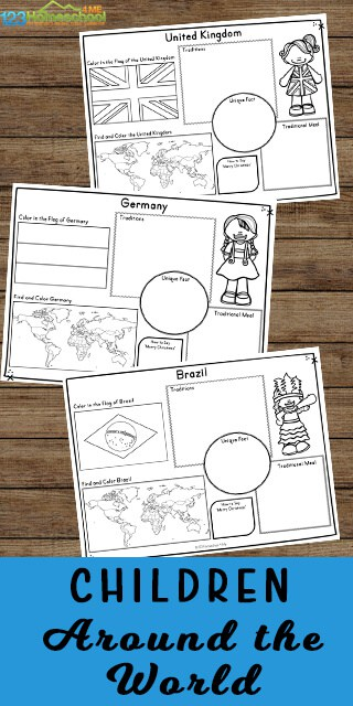 FREE Worksheets about Children around the World. #childrenaroundtheworldworksheets  #fhdhomeschoolers #freehomeschooldeals