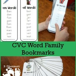 CVC Word Family Bookmarks.