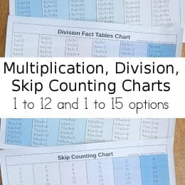 For use all year, grab these Multiplication, Division, & Skip Counting Charts! #fhdhomeschoolers #freehomeschooldeals #homeschoolmath #hsdays #mathtools