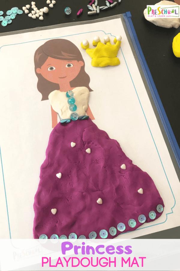 FREE Pretty Princess Playdough Mats #fhdhomeschoolers #freehomeschooldeals #playdoughmats