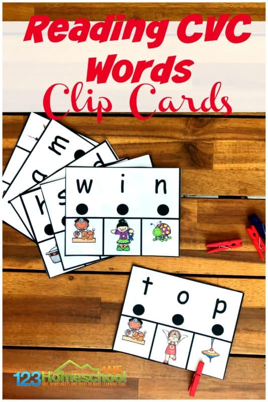 FREE CVC Words Printable and Activities. #fhdhomeschoolers #freehomeschooldeals #cvcwords