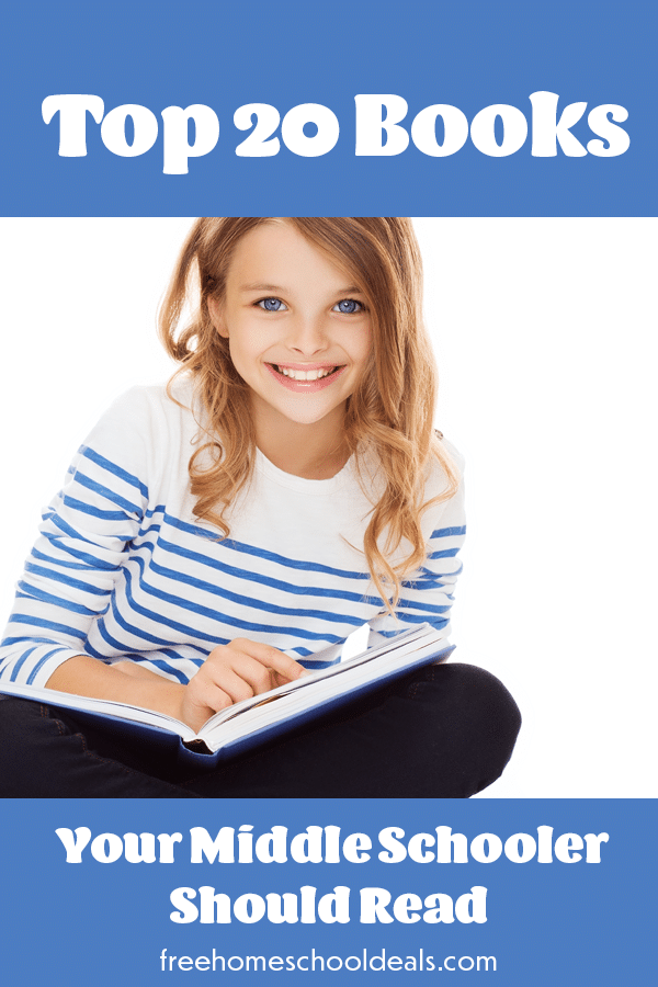 Your young reader will definitely be able to find a book they love with these Top 20 Books Your Middle Schooler Should Read! #fhdhomeschoolers #freehomeschooldeals #homeschooling #hsmoms #reading