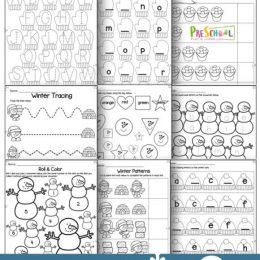 preschool winter FREE worksheets.