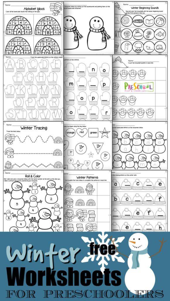 Preschool Winter FREE Worksheets. #winterprintables #fhdhomeschoolers #freehomeschooldeals