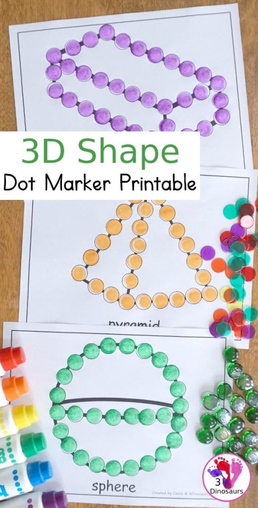 For shape recognition and fine motor skills, grab these FREE 3D Shape Dot Marker Pages! #fhdhomeschoolers #freehomeschooldeals #shapemath #homeschoolmath #hsmoms