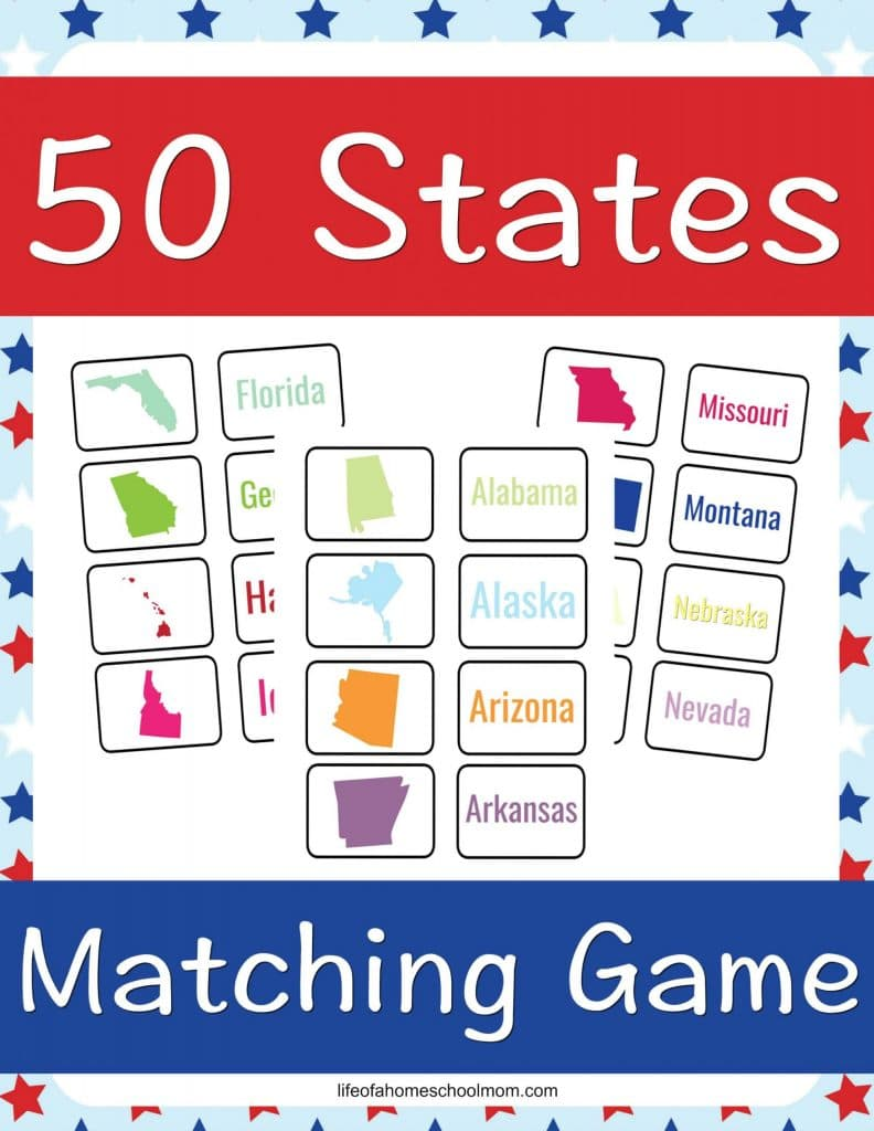FREE 50 States Matching Game. #freehomeschooldeals #fhdhomeschoolers #statesmatchinggame #learnthestates
