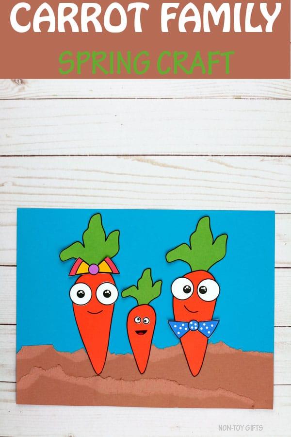 FREE Carrot Family Craft. #carrotcraft #vegetablecraft #fhdhomeschoolers #freehomeschooldeals
