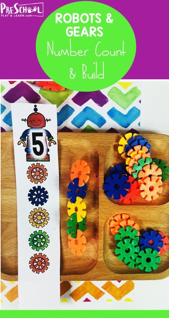 Free Robots and Gears Counting Activities. #robotactivities #robotandgearfun #robotcounting #countingactivities #fhdhomeschoolers #freehomeschooldeals
