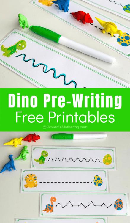 Free Dinosaur Pre-Writing Practice. #dinosaurprewriting #prewritingpractice #fhdhomeschoolers #freehomeschooldeals
