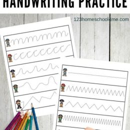 FREE Pirate-Themed Handwriting Printables. #freehomeschooldeals #fhdhomeschoolers #piratehandwritingprintables #handwritingpractice