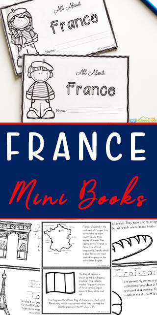 FREE Printable France Mini Book. #franceminibook #learningaboutfrance #Francelesson #fhdhomeschoolers #freehomeschooldeals