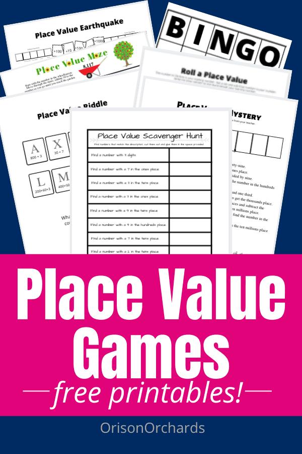 Fun Place Value Games. #placevaluegames #placevalue #mathgames #fhdhomeschoolers #freehomeschooldeals