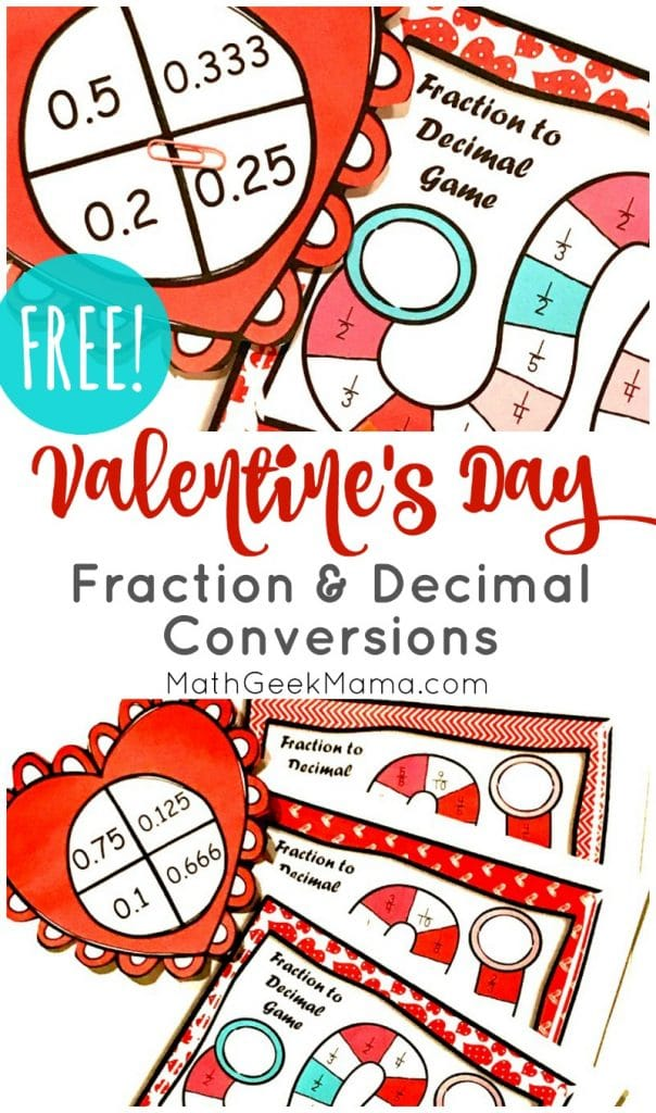 FREE Valentine's Day Fraction and Decimal Conversions Game. #freehomeschooldeals #fhdhomeschoolers #fractiondecimalconversion #conversiongame