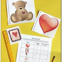 FREE Valentine's Day Measurement Activity. #freehomeschooldeals #fhdhomeschoolers #measurement #measuringskills
