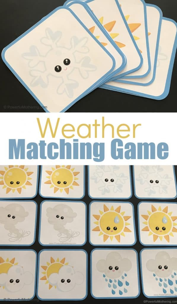 FREE Weather Card Matching Printable Game. #freehomeschooldeals #fhdhomeschoolers #weathercardmatching