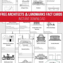 Architects and U.S. Landmarks FREE Fact Cards. #USlandmarks #architects#freehomeschooldeals #fhdhomeschoolers