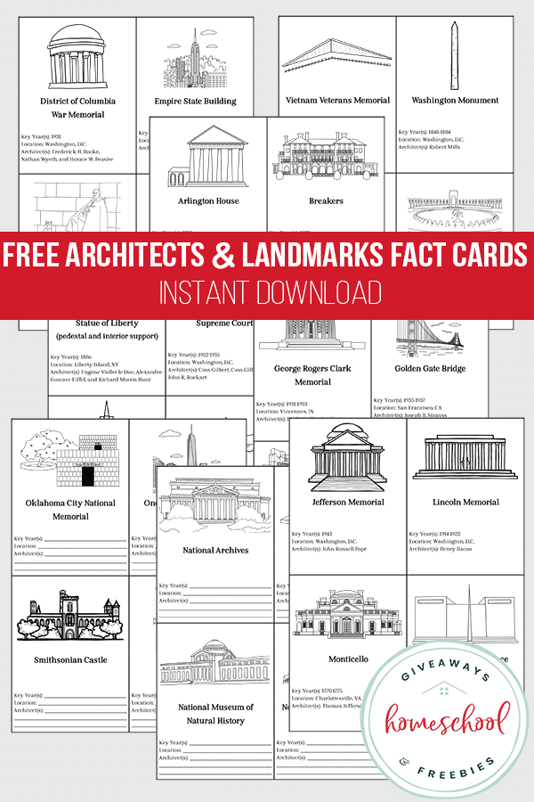 Architects and U.S. Landmarks FREE Fact Cards. #USlandmarks #architects #freehomeschooldeals #fhdhomeschoolers