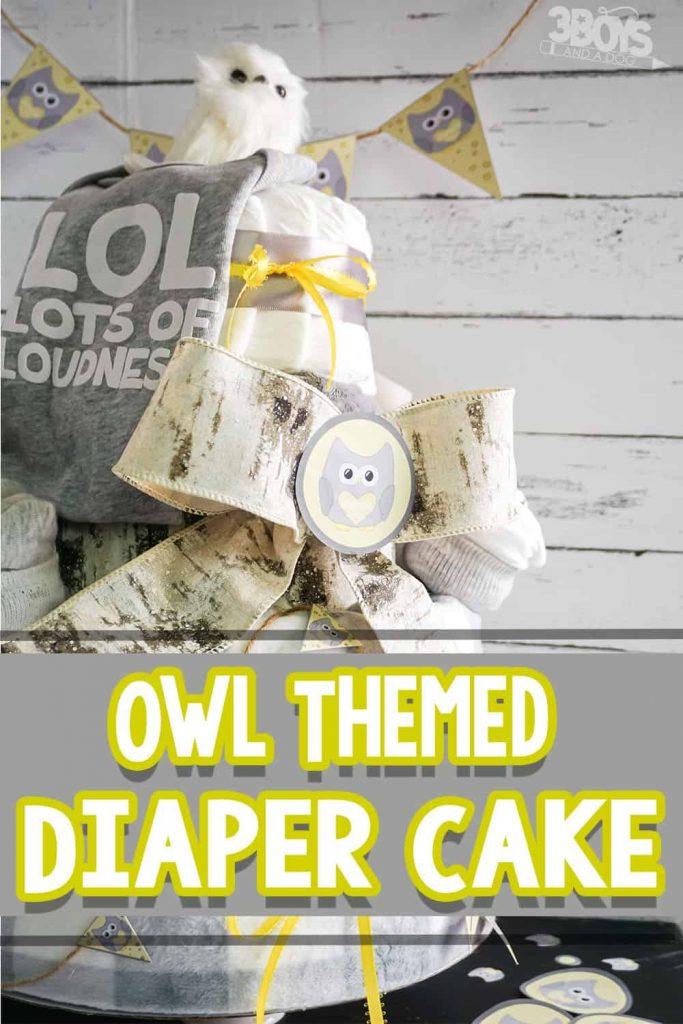 Owl-Themed DIY Diaper Cake. #fhdhomeschoolers #freehomeschooldeals #owlthemeddiapercake #owltheme #diapercake