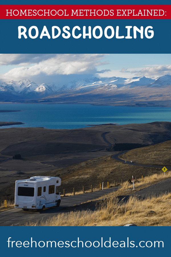 """rv driving on open road with overlay """"Homeschool Methods Explained: Roadschooling"""""""