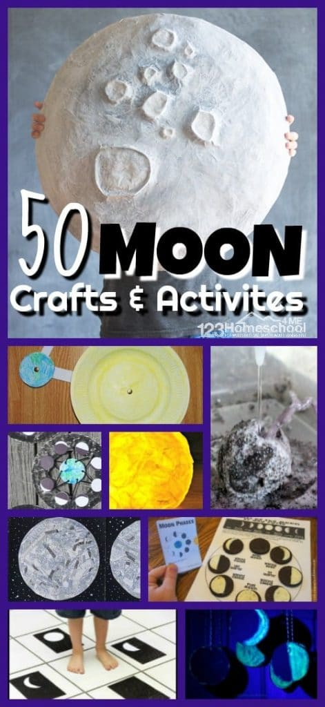 50 Crafts and Activities about the Moon. #freehomeschooldeals #fhdhomeschoolers #mooncrafts #moonactivities