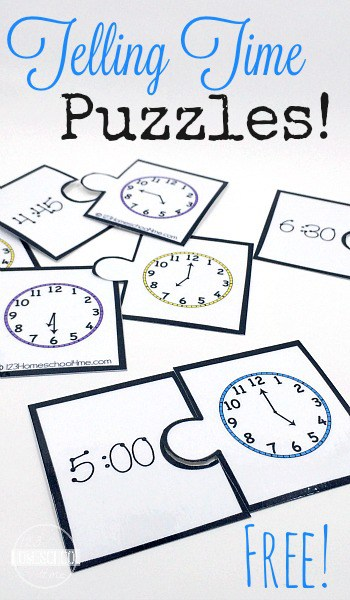 FREE Puzzles for Telling Time. #tellingtime #telltime #telltimepuzzles #fhdhomeschoolers #freehomeschooldeals