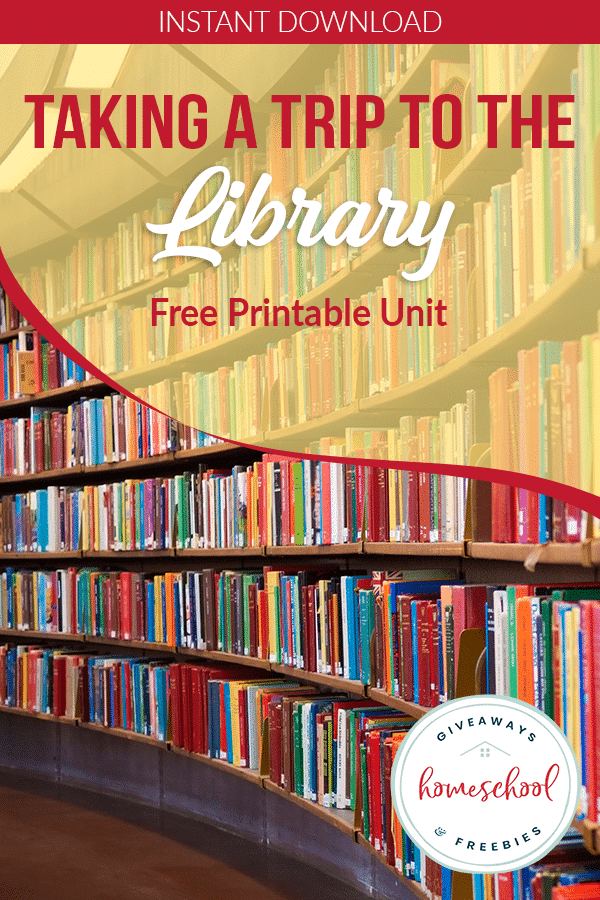 FREE Trip to the Library Printable Pack. #freehomeschooldeals #fhdhomeschoolers #libraryprintables #librarytripresources