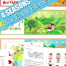 Four seasons FREE printable pack. #freehomeschooldeals #fhdhomeschoolers #fourseasonsprintables #allaboutheseasons #learnthefourseasons