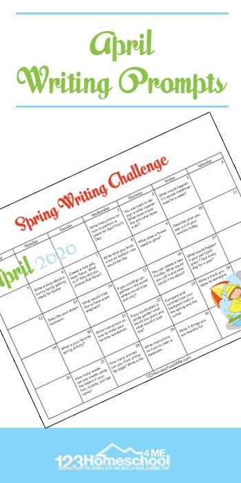 FREE April Writing Prompts Calendar. #fhdhomeschoolers #freehomeschooldeals #Aprilwritingprompts #writingpromptsforspring