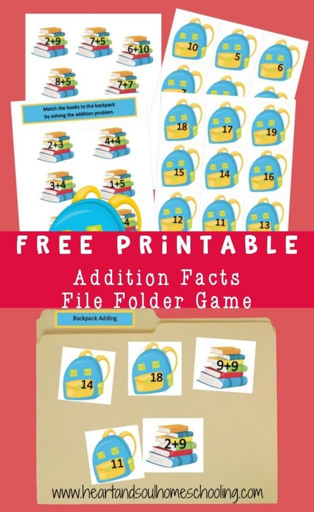 FREE Addition File Folder Game. #fhdhomeschoolers #freehomeschooldeals #additionfilefoldergame #additiongame #filefoldergame