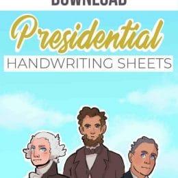 FREE Presidential Handwriting Bundle. #fhdhomeschoolers #freehomeschooldeals #presidentialhandwritingsheets #handwritingworksheets