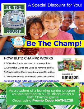 Right now, get 25% OFF Blitz Champz Football Math Game! #fhdhomeschoolers #freehomeschooldeals #mathgames #homeschoolmath #hsgames
