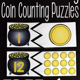 FREE Counting Puzzles for St. Patrick's Day. #fhdhomeschoolers #freehomeschooldeals #coincountingpuzzles