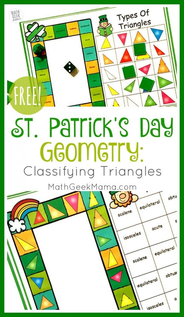 FREE St. Patrick's Fun Triangle Game. #fhdhomeschoolers #freehomeschooldeals #learningtriangles #trianglegame