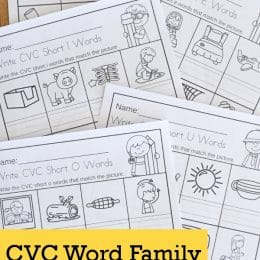 FREE No-Prep CVC Word Family Printable. #freehomeschooldeals #fhdhomeschoolers cvcwordfamilies #noprepcvcwordprintable #cvcwordresource