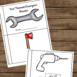 FREE Tool-Themed Emergent Reader. #fhdhomeschoolers #freehomeschooldeals #toolthemedreader #emergentreader #toolthemedresource
