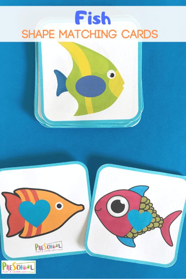FREE Fish Matching Shape Cards. #fhdhomeschoolers #freehomeschooldeals #fishshapematchingcards #shapematchingcards