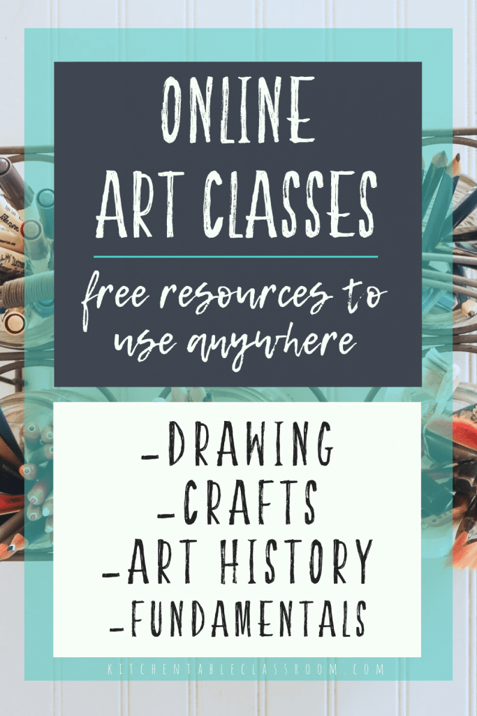 FREE online art classes to use anywhere. #freehomeschooldeals #fhdhomeschoolers #freeartclasses #freeonlineartclasses #artclassanywhere
