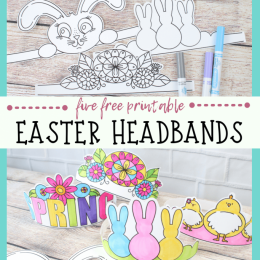 FREE Printable Easter Headbands. #fhdhomeschoolers #freehomeschooldeals #printableeasterbands #bunnyearsprintables