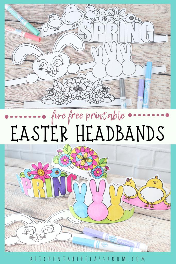 FREE Printable Easter Headbands. #fhdhomeschoolers #freehomeschooldeals #printableeasterbands #bunnyearsprintables