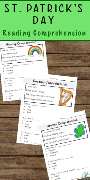 Reading Comprehension Worksheets for St. Patrick's Day.#fhdhomeschoolers #freehomeschooldeals #readingcomprehension #stpatricksdayreading