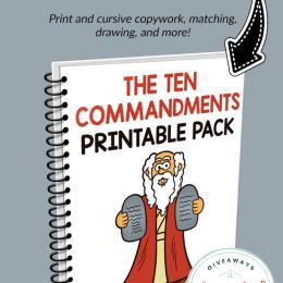 Ten Commandments FREE Printable Pack. #fhdhomeschoolers #freehomeschooldeals #tencommandments #bibleprintables #oldtestamentkids