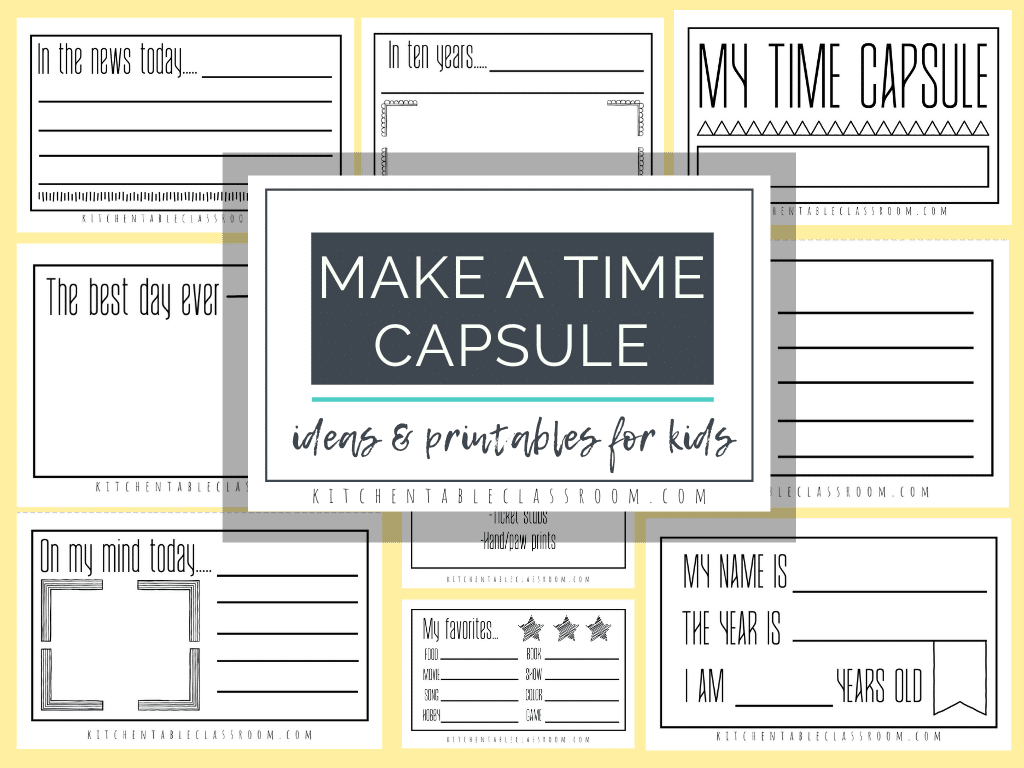 Make a Time Capsule Ideas and Printables. #fhdhomeschoolers #freehomeschooldeals #timecapsuleideas #timecapsuleprintablesforkids #kidstimecapsuleideas