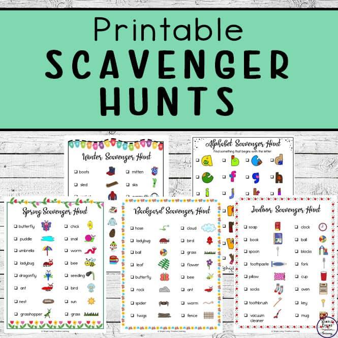 FREE Printable Scavenger Hunts. #fhdhomeschoolers #freehomeschooldeals #scavengerhunts #indoorscavengerhunts #backyardscavengerhunts #holidayscavengerhunts #seasonsscavengerhunts