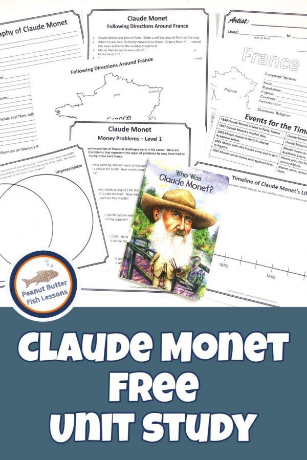 FREE Claude Monet Unit Study. #freehomeschooldeals #fhdhomeschoolers #ClaudeMonetunitstudy #artiststudy